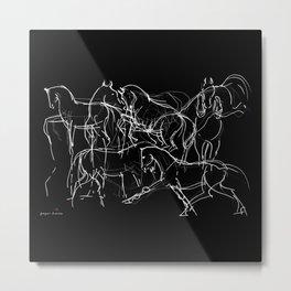 Horses (Movement on black) Metal Print