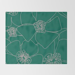 Blooms Everywhere Line Art No 03 Throw Blanket
