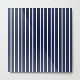 Navy Blue and White Vertical Stripes Pattern Metal Print