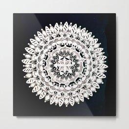 Metallic White Floral Mandala on Black Background Metal Print