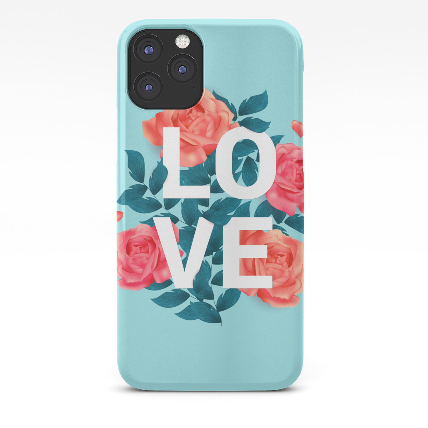 Love Typography With Floral Background Iphone Case By Hommie