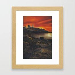 Maine Lighthouse Sunrise Framed Art Print