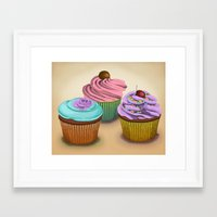 cupcakes Framed Art Prints featuring Cupcakes!  by Megs stuff