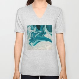 White & Teal Abstract Art Painting Unisex V-Neck