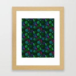 Watercolor Floral Garden in Electric Black Velvet Framed Art Print