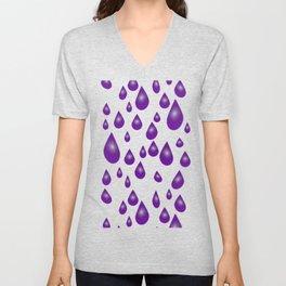 Purple Raindrops Unisex V-Neck