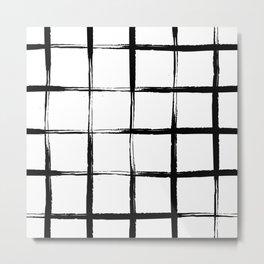 Black and white plaid, mid century pool tiles pattern, tartan Metal Print