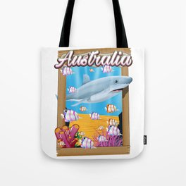 Australia Underwater shark travel poster Tote Bag