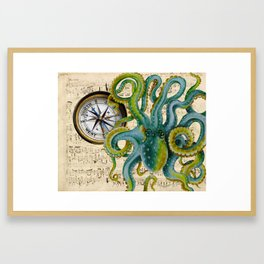 Octopus Compass Green Music Collage Framed Art Print