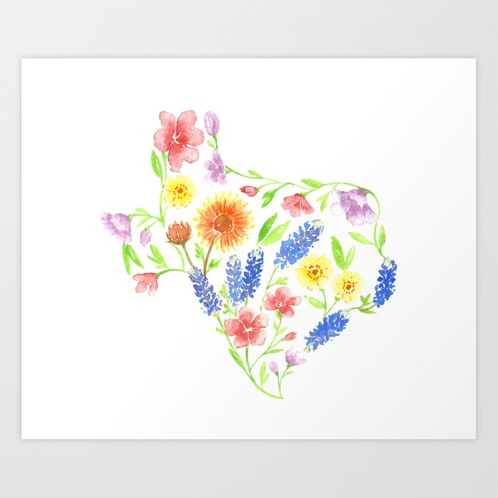 71584290f4bca Texas wildflower watercolor Art Print by imagodeinurserydecor   Society6