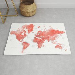 Living coral watercolor world map with cities Rug