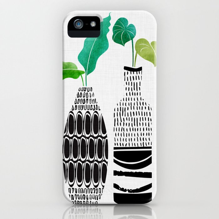 Black and White Tribal Vases iPhone Case