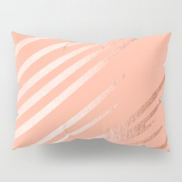 Sweet Life Swipes Peach Coral Shimmer Pillow Sham