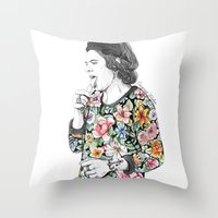 coconutwishes Throw Pillows featuring Harry  sketch  by Coconut Wishes