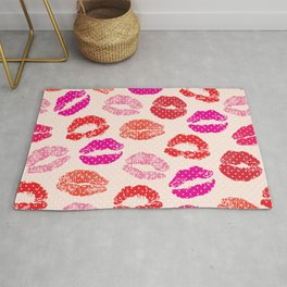 Lovely kisses lips print hand drawn illustration, romantic background Rug