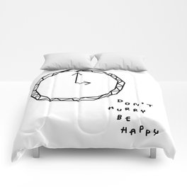 Be Happy - black and white illustration Comforters