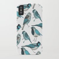 yetiland iPhone & iPod Cases featuring pale green birds by Polkip