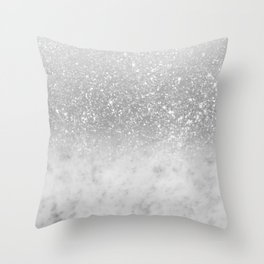 White Marble Silver Ombre Glitter Glam #1 #shiny #gem #decor #art #society6 Throw Pillow
