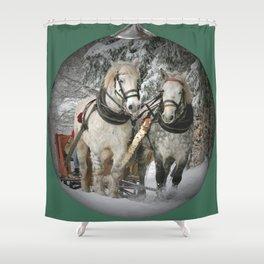 Christmas Horses Shower Curtain