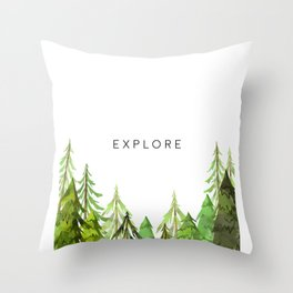 Explore, Printable Wall Decor, Wall Art Print, Black And White, Printable Art Throw Pillow