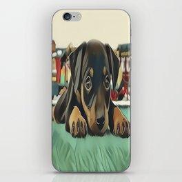 Doberman Puppy Protecting the 027 Railroad iPhone Skin