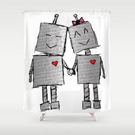 Lovebots Doodle Shower Curtain