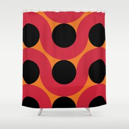 Black Balls on red Elastic Worms in an Orange Background Shower Curtain