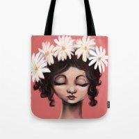 daisies Tote Bags featuring Daisies by Jaleesa McLean
