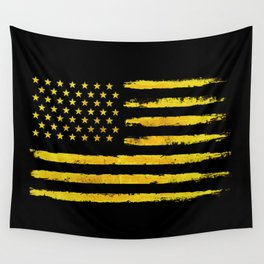 Gold grunge american flag Wall Tapestry