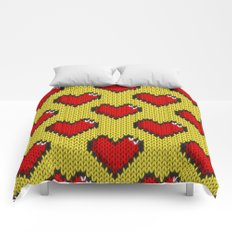 Knitted heart pattern - yellow Comforters