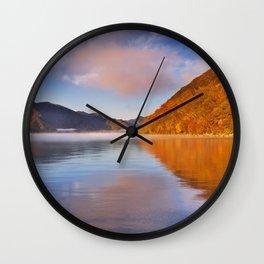 Lake Chuzenji, Japan at sunrise in autumn Wall Clock
