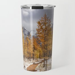 II - Larch trees in fall after first snow, Banff NP, Canada Travel Mug