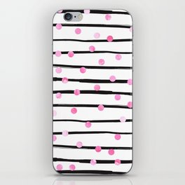 Blush pink black watercolor modern stripes polka dots iPhone Skin