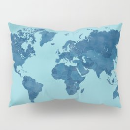 Vintage and distressed teal world map Pillow Sham