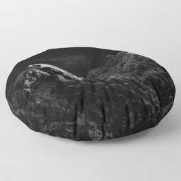 Sunlight hitting the mountains black and white Floor Pillow