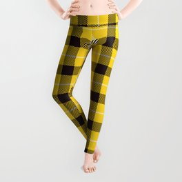 Yellow Plaid Tartan Leggings