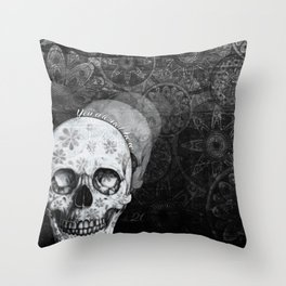 Not here floral skull Throw Pillow