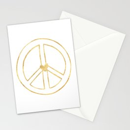 Gold Heart Peace Sign Stationery Cards