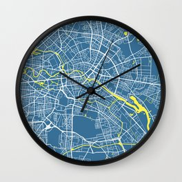 Berlin Map | Germany | Blue & Yellow | More Colors, Review My Collections Wall Clock