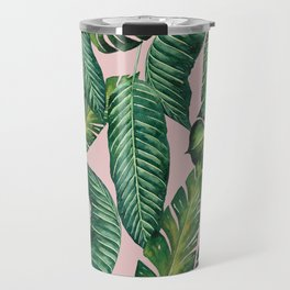 Jungle Leaves, Banana, Monstera II Pink #society6 Travel Mug