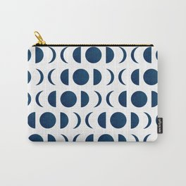 Phases of the Moon - Midnight Blue - Block Print Pattern Carry-All Pouch