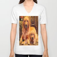 mom V-neck T-shirts featuring Mom by Robin Curtiss
