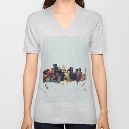 BostonMassachusetts Skyline Unisex V-Neck