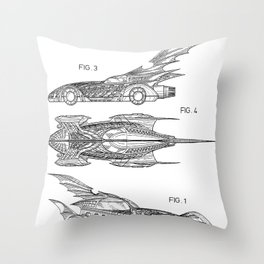 Batmobile Patent - Bat Mobile Art - Black And White Throw Pillow
