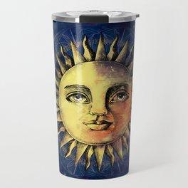 Celestial Antique Sun And Sky Watercolor Batik Travel Mug