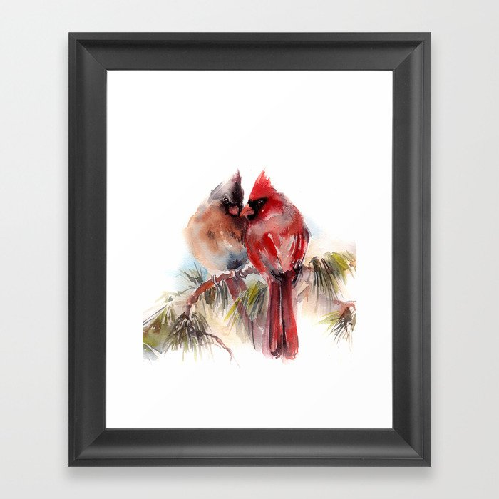 Cardinal Birds Couple Gerahmter Kunstdruck