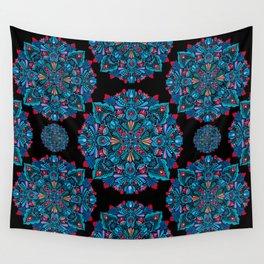 Pink, light blue floral mandala on black Wall Tapestry