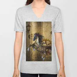 Awesome steampunk horse Unisex V-Neck