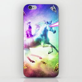 Space Cat Riding Unicorn - Laser, Tacos And Rainbow iPhone Skin