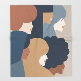 Girl Power portrait - we persist - Earthy #girlpower Throw Blanket